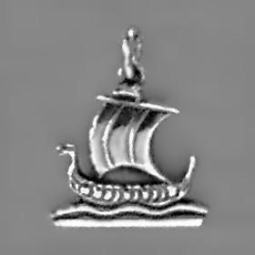 Anhänger Wikingerschiff, Drachenboot in echt Sterling-Silber 925 oder Gold, Charm, Ketten- oder Bettelarmband-Anhänger