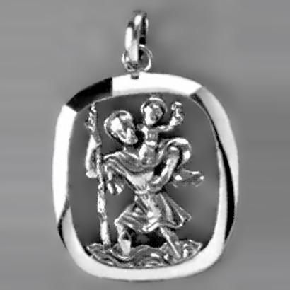 Anhänger Christopherus mit Rand in echt Sterling-Silber 925, Ketten- oder Schlüssel-Anhänger