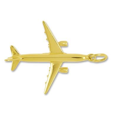 Anhänger Flugzeug Airbus in echt Sterling-Silber 925 oder Gelbgold, Charm, Ketten- oder Bettelarmband-Anhänger