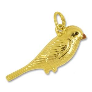Anhänger Vogel in echt Gelbgold, Charm, Ketten- oder Bettelarmband-Anhänger