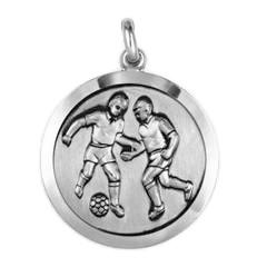 Anhänger Fussballspieler, Plakette in echt Sterling-Silber 925 oder Gold, Ketten- oder Schlüssel-Anhänger