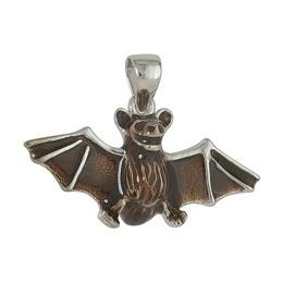 Anhänger Fledermaus in echt Sterling-Silber emailliert, Kettenanhänger oder Schlüssel-Anhänger