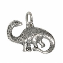 Anhänger Dinosaurier, Apatosaurus, Brontosaurus in echt Sterling-Silber oder Gelbgold, Charm, Kettenanhänger oder Bettelarmband-Anhänger