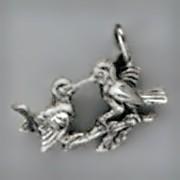 Anhänger Vogelpaar in echt Sterling-Silber 925 oder Gold, Charm, Ketten- oder Bettelarmband-Anhänger