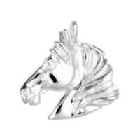 Anhänger Pferdekopf in echt Sterling-Silber 925 weiß oder Gelbgold, Ketten- oder Schlüssel-Anhänger