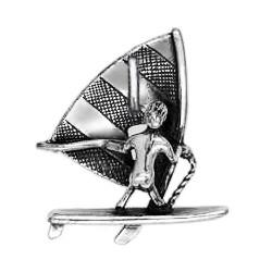 Anhänger Windsurfer in echt Sterling-Silber 925 oder Gold, Charm, Ketten- oder Bettelarmband-Anhänger