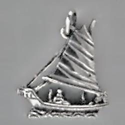 Anhänger Dschunke, chinesisches Segelschiff in echt Sterling-Silber 925 und Gold, Ketten- oder Schlüssel-Anhänger