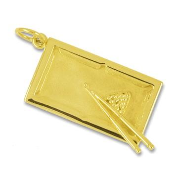 Anhänger Billardtisch mit Triangel und Kugeln in echt Sterling-Silber 925 und Gelbgold, Ketten- oder Schlüssel-Anhänger