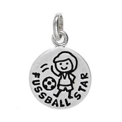 Anhänger Fussball-Star in echt Sterling-Silber 925, Charm, Ketten- oder Bettelarmband-Anhänger