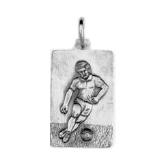 Anhänger Fussballspieler, Plättchen in echt Sterling-Silber 925 oder Gold, Charm, Ketten- oder Bettelarmband-Anhänger