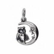 Anhänger Eule mit Mond in echt Sterling-Silber 925 oder Gold, Charm, Ketten- oder Bettelarmband-Anhänger