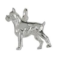 Anhänger Deutscher Boxer, Hund in echt Sterling-Silber 925 weiß, Charm, Ketten- oder Bettelarmband-Anhänger