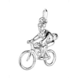 Anhänger Mountainbiker in echt Sterling-Silber 925 oder Gelbgold, Charm, Ketten- oder Bettelarmband-Anhänger