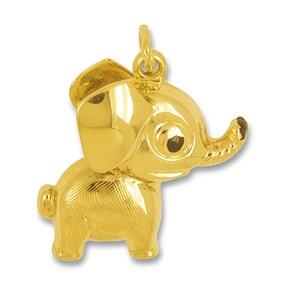 Anhänger Elefant in echt Gelbgold mattiert, Charm, Kettenanhänger oder Bettelarmband-Anhänger