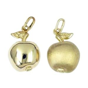 Anhänger Apfel in echt Sterling-Silber 925 oder Gold, Charm, Ketten- oder Bettelarmband-Anhänger