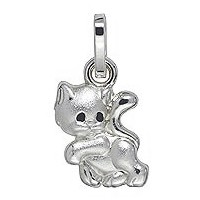 Anhänger Kätzchen in echt Sterling-Silber 925, Charm, Ketten- oder Bettelarmband-Anhänger