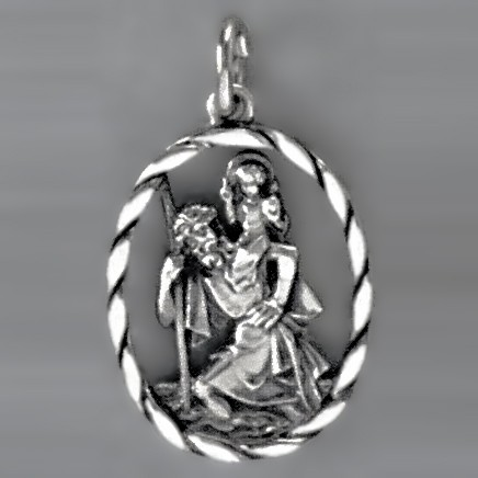 Anhänger Christophorus mit Kordelrand oval in echt Sterling-Silber 925 oder Gold, Ketten- oder Schlüssel-Anhänger