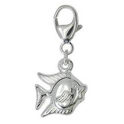 Anhänger, Charm Fisch in echt Sterling-Silber 925 mit Karabiner, Kettenanhänger oder Bettelarmband-Anhänger
