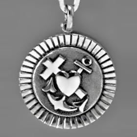 Anhänger Glaube, Liebe, Hoffnung, Plakette in echt Sterling-Silber 925 oder Gold, Ketten- oder Schlüssel-Anhänger