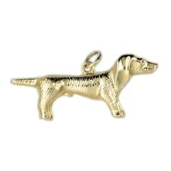 Anhänger Dackel, Hund in echt Gelbgold, Ketten- oder Schlüssel-Anhänger