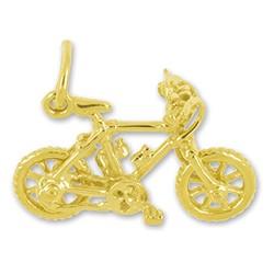Anhänger Mountainbike echt Sterling-Silber 925 oder Gelbgold, Charm, Ketten- oder Bettelarmband-Anhänger