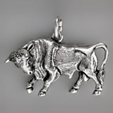 Anhänger Stier, Tierkreiszeichen, Sternzeichen in echt Sterling-Silber 925 oder Gold, Ketten- oder Schlüssel-Anhänger