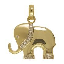 Anhänger Elefant in echt Sterling-Silber oder Gelbgold mit Brillanten, Kettenanhänger oder Schlüssel-Anhänger