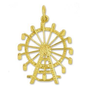 Anhänger Riesenrad in echt Sterling-Silber 925 oder Gelbgold, Charm, Ketten- oder Bettelarmband-Anhänger