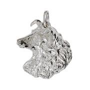 Anhänger Colliekopf, Hund in echt Sterling-Silber 925, Charm, Ketten- oder Bettelarmband-Anhänger