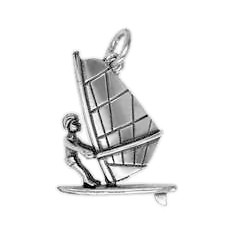 Anhänger Surfer mit Board in echt Sterling-Silber 925 oder Gold, Charm, Ketten- oder Bettelarmband-Anhänger