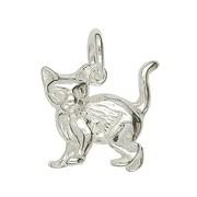 Anhänger Katze in echt Sterling-Silber 925 weiß oder Gelbgold, Charm, Ketten- oder Bettelarmband-Anhänger