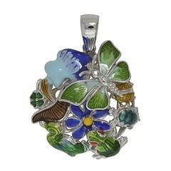 Anhänger Frosch, Ente, Schildkröte, Kleeblatt, Schmetterling, Blume in echt Sterling-Silber 925 emailliert, Ketten- oder Schlüssel-Anhänger