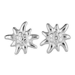 Damen-Ohrstecker Edelweiß in echt Sterling-Silber 925 oder Gold, Trachten-, Blumenschmuck