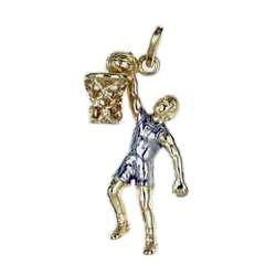 Anhänger Basketballspieler in echt Sterling-Silber 925 oder Gold zweifarbig, Charm, Ketten- oder Bettelarmband-Anhänger