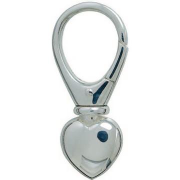 Schlüsselring-Karabiner mit Herz & Schnappverschluss, Schlüsselmechanik in Silber 925 für Anhänger.