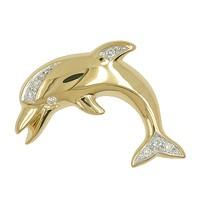 Anhänger Delfin, Delphin in echt Gelbgold mit Brillanten, Charm, Kettenanhänger oder Bettelarmband-Anhänger