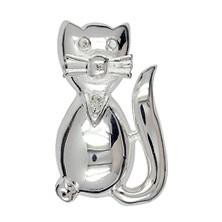 Brosche Katze in echt Sterling-Silber 925 weiß