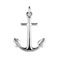 Anhänger Anker in echt Sterling-Silber 925 weiß oder Gold, Ketten- oder Schlüssel-Anhänger