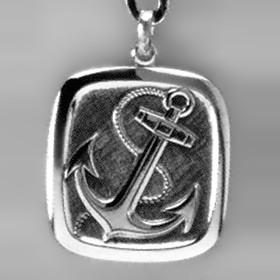 Anhänger Anker mit Tau in echt Sterling-Silber 925, Ketten- oder Schlüssel-Anhänger