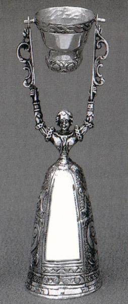 Brautbecher, Jungfernbecher in echt Silber 835