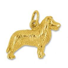 Anhänger Collie, Hund in echt Gelbgold, Charm, Ketten- oder Bettelarmband-Anhänger