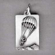 Anhänger Fallschirmspringer, Plättchen in echt Sterling-Silber 925 oder Gold, Charm, Ketten- oder Bettelarmband-Anhänger