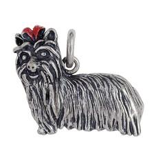 Anhänger Yorkshire Terrier, Hund in echt Sterling-Silber 925 oder Gold, Ketten- oder Schlüssel-Anhänger