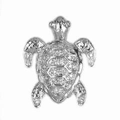 Kettenanhänger oder Brosche Schildkröte in echt Weißgold 585 mit Diamanten