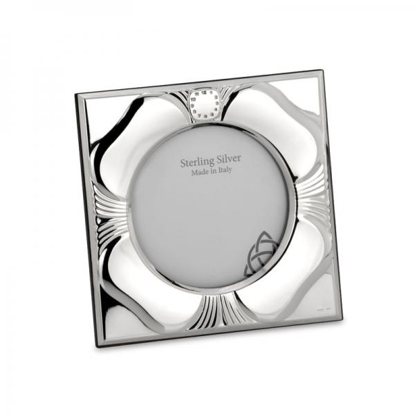 Taufrahmen, Geburtsrahmen in echt Sterling-Silber 925, Motiv: Kleeblatt