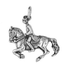 Anhänger Dressurreiter in echt Sterling-Silber 925 und Gold, Ketten- oder Schlüssel-Anhänger