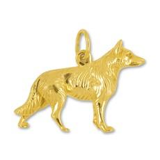 Anhänger Schäferhund in echt Sterling-Silber 925 oder Gelbgold, Charm, Ketten- oder Bettelarmband-Anhänger