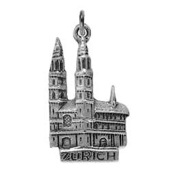 Anhänger Zürich, Grossmünster in echt Sterling-Silber 925 oder Gold, Ketten- oder Schlüssel-Anhänger