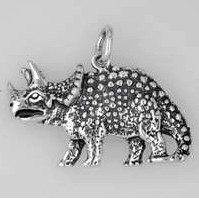 Anhänger Dinosaurier, Styracosaurus in echt Sterling-Silber oder Gelbgold, Kettenanhänger oder Schlüssel-Anhänger