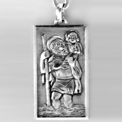 Anhänger Christophorosplakette in echt Sterling-Silber 925 oder Gold, Ketten- oder Schlüssel-Anhänger